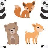 Naadloze textuur met beeldverhaaldieren Patroon met dieren voor kinderen textiel Vector grafiek vector illustratie