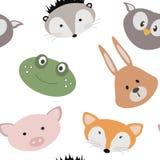 Naadloze textuur met beeldverhaaldieren Patroon met dieren voor kinderen textiel Vector grafiek royalty-vrije illustratie