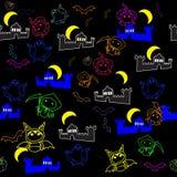 Naadloze textuur met beeldverhaalkarakters van de vakantie Halloween vector illustratie