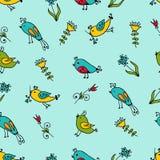 Naadloze textuur met bloemen en vogels Stock Foto's
