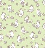 Naadloze textuur met bloemen en vogels royalty-vrije illustratie