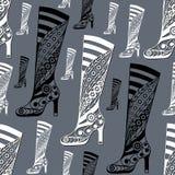 Naadloze textuur met decoratieve schoenen 27 Stock Foto