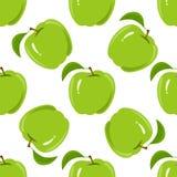Naadloze textuur met een patroon van groene appelen Stock Fotografie