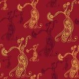 Naadloze textuur met flamencodanser 8 Stock Foto