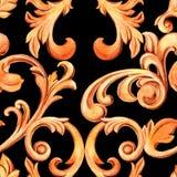 Naadloze textuur met gouden elementen van barok Renaissancedecoratie voor ontwerp en textiel waterverfhand getrokken luxe vector illustratie