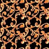 Naadloze textuur met gouden elementen van barok Renaissancedecoratie voor ontwerp en textiel waterverfhand getrokken luxe stock illustratie