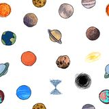 Naadloze textuur met het beeld van de planeten Stock Foto