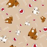 Naadloze textuur met honden en harten. Stock Afbeeldingen