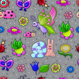 Naadloze textuur met insecten Stock Foto's