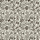 Naadloze textuur met pictogrammen - kinderen, kinderdagverblijf Stock Foto's