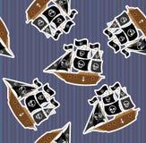 Naadloze textuur met piraatschip. Stock Foto