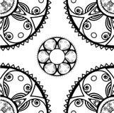 Naadloze textuur met ronde ornamenten in zwart-wit royalty-vrije stock afbeelding