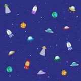 Naadloze textuur met ruimteraket, ufo, aarde en maan Vector royalty-vrije illustratie