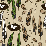 Naadloze textuur met veren en nesten royalty-vrije illustratie