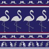 Naadloze textuur met vogels op blauwe achtergrond Royalty-vrije Stock Afbeelding
