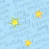 Naadloze textuur met woorden van Eurovisie Stock Foto's