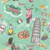 Naadloze textuur op Italië met een beeld van het voedsel, architectuur, en diverse onderwerpen in Italië vector illustratie