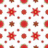 Naadloze textuur van abstracte rode symmetrische bloemen Stock Afbeeldingen