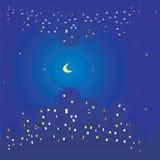Naadloze textuur van de hemelsterren en maan van de nachtstad Gebouwen en licht in vensters vector illustratie