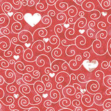 Naadloze textuur van rode kleur met harten en wervelingspatroon Stock Foto's