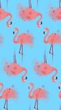 Naadloze textuur van roze flamingo's met waterverfplonsen vector illustratie