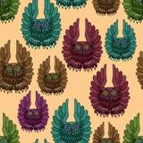 Naadloze textuur van uilen. Royalty-vrije Stock Afbeelding