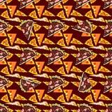 Naadloze textuur Vectorkleurenbeeld van een pizza Stock Illustratie