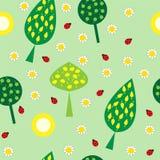 Naadloze textuurbomen en bloemen Stock Foto