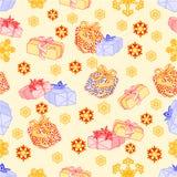 Naadloze textuurgiften voor Kerstmis vectorillustratie Royalty-vrije Stock Foto