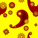 Naadloze tracery in geel Royalty-vrije Stock Fotografie