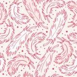 naadloze uitstekende achtergrond met pluimen Decoratief abstract patroon met hand getrokken veren Royalty-vrije Stock Foto