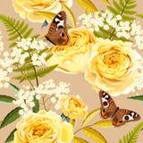 Naadloze uitstekende bloemen Stock Foto