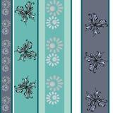 Naadloze uitstekende bloemen het patroonachtergrond van de vlinderpastelkleur Stock Fotografie