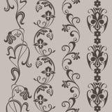 Naadloze uitstekende bloemen verticale grenzen Royalty-vrije Stock Afbeelding