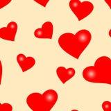 Naadloze valentijnskaart met harten Stock Foto's