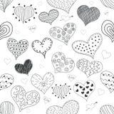 Naadloze van de Liefdeharten van de Patroonschets Romantische Retro de Krabbelspictogrammen Geplaatst de Dag van Valentine s Vect Stock Foto's