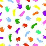 Naadloze van de patroonhand en voet kleurrijke drukken vector illustratie