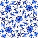 Naadloze vector bloemenpatroonachtergrond in de stijl van Gzhel Traditioneel Russisch ornament stock illustratie