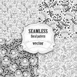 Naadloze vector bloemenpatrooninzameling Stock Afbeeldingen