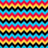 Naadloze vector kleurrijke aqua blauwe rode gele zwarte van het de pijlen geometrische ontwerp van het chevronpatroon Royalty-vrije Stock Foto's