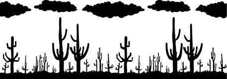 Naadloze vector met Cactus Saguaro vector illustratie