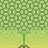Naadloze vectorachtergrond - het patroon van de de zomerboom stock illustratie