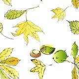 Naadloze vectorachtergrond met bladeren. Stock Afbeeldingen