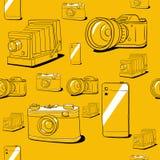 Naadloze vectorachtergrond met camera's Stock Fotografie