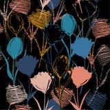 Naadloze vectorachtergrond met kleurrijke handschets en tekening Royalty-vrije Stock Foto