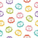 Naadloze vectorachtergrond met kleurrijke leeuwen Stock Afbeelding