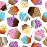 Naadloze vectorachtergrond van cupcakes met room Royalty-vrije Stock Foto