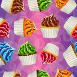 Naadloze vectorachtergrond van cupcakes met room Stock Foto