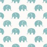 Naadloze vectordruk met leuke kleine olifanten stock illustratie