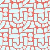 Naadloze vectorpatroon abstracte vormen Blauwe blokken, bogen, punten op koraalrood Hand getrokken Textuurachtergrond Vlak verwij royalty-vrije illustratie